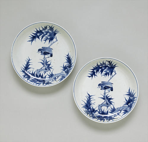 A pair of blue and white porcelain plates with bird design  Republic period