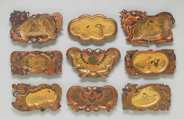 A group of nine lacquered wood trays Late Qing dynasty