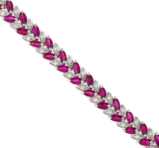 A ruby, diamond and 18k white gold bracelet