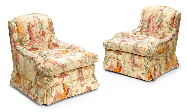 A pair of William Haines upholstered armchairs 1940-1945