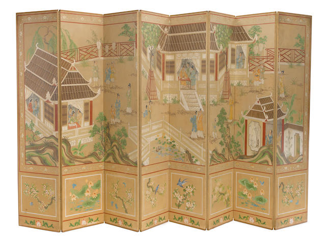 A Robert Crowder hand painted paper on board eight panel floor screen mid 20th century signed height of each panel 96in (244cm); width of each panel 24in (61cm)