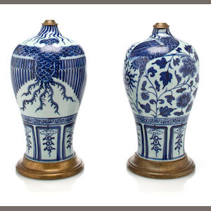 A pair of Chinese blue and white porcelain Meiping vases now mounted as lamps.
