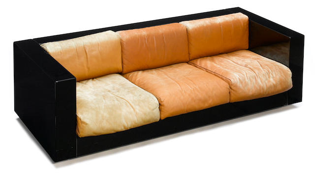A Massimo and Elena Vignelli for Poltronova black lacquered wood and leather Saratoga sofa  circa 1964