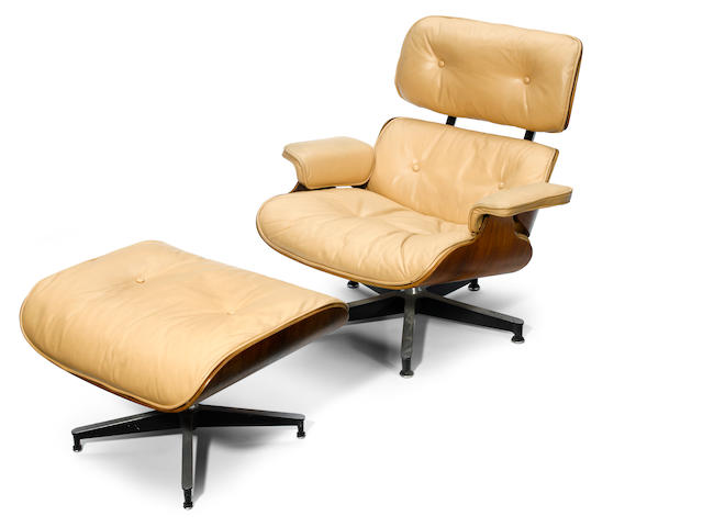 A Charles and Ray Eames rosewood and leather lounge chair and ottoman models 670 and 671, designed 1956, for Herman Miller