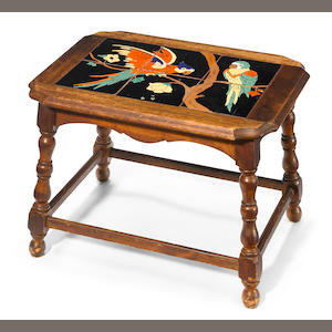A Catalina Parrot tile and turned oak sewing table  1920s