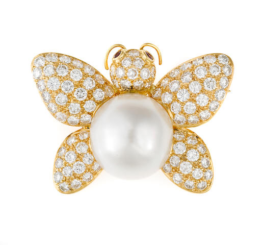 south sea pearl and diamond butterfly brooch