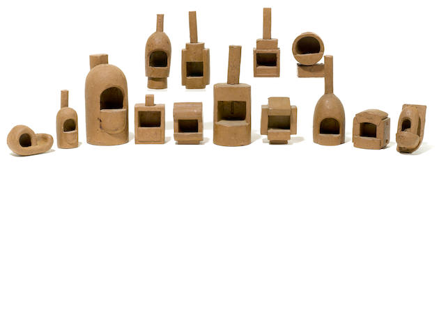A group of fourteen Malcolm Leland terracotta fireplace maquettes