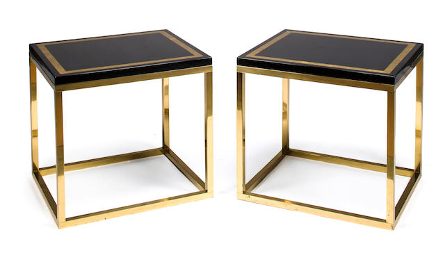 Pair of side tables French, 1970s black lacquer, parcel gilt and brass h x l x w: 21 ¾ x 23 ½ x 19 ½ in. (55.5 x 59.5 x 49.5cm)