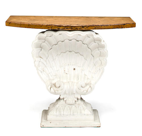 Console table, French, mid 20th c., white painted plaster and painted wood, h x w d: 32 x 38 x 14 1/2in. (81.5 x 96.5 x 37cm)