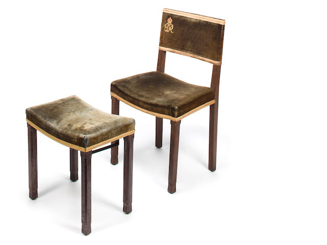 W. Hands & Sons, George VI coronation chair and footstool, British, circa 1937, limed and stained oak with velvet upholstery; stool stamped to underside GR VI/CORONATION HANDS & SONS LTD/LONDON; chair stamped to underside GR VI/HANDS & SONS LTD and numbered 193 	stool: h x w x d: 18 ¾ x 18 x 12in. (47.5 x 46 x 30.5cm); chair: 33 x 19 x 15in. (84 x 48 x 38.5cm)