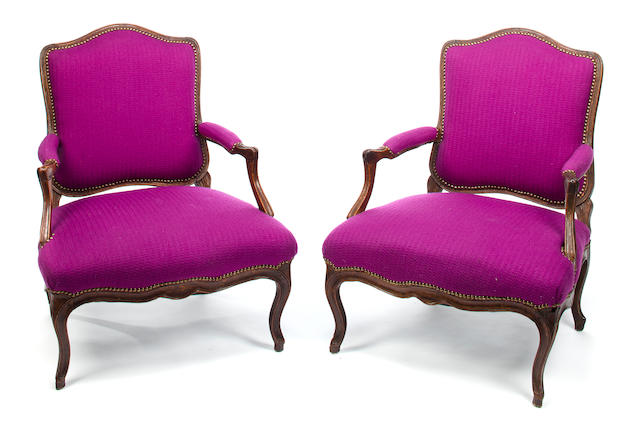 Pair of Louis XV Fauteuils, Mid 18th c. Beechwood with amethyst wool upholstery and decorative nailing, h x w x d (of seat): 36 x 30 x 25in. (91.5 x 76 x 63.5cm)