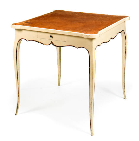 Rococo style card table, French, second quarter of the 20th c., Cream painted and parcel gilt wood with tooled leather top, h x w x d: 29 x 28 ¾ x 28 3/4in. (73.5 x 73 x 73cm)