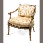 Faux bois open armchair, Second half of the 20th c., grey painted carved wood with faux bois patterned upholstery, h x w x d of seat: 31 x 26 x 21in. (75 x 66 x 53.5cm)