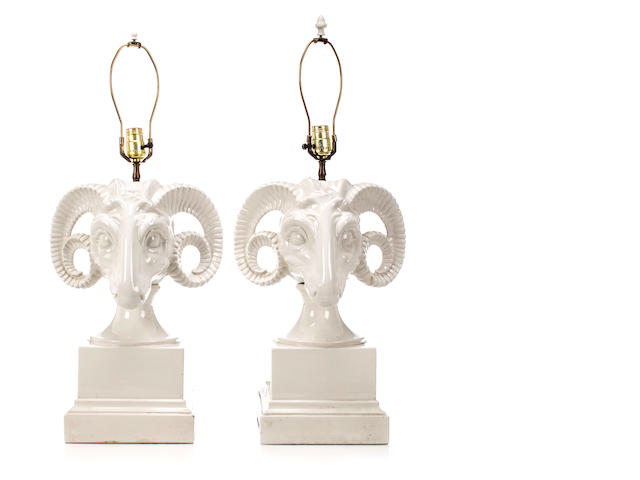 Pair of ram's head table lamps, Continental, 20th c., white glazed porcelain, fitted for electricity, height of lamp base 18in. (46cm)