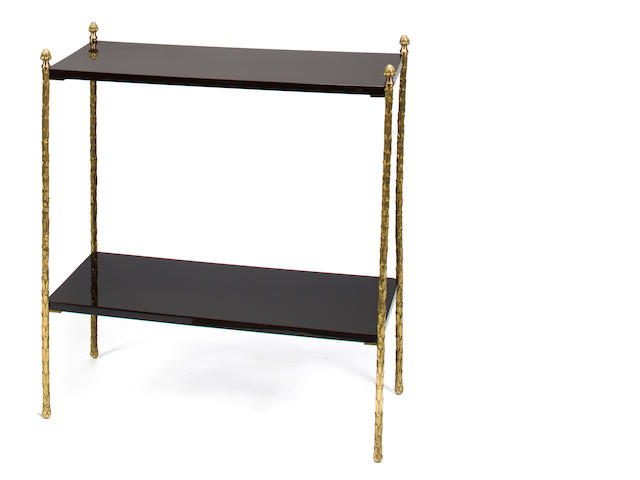 Maison Charles 	Two-tiered table, mid-20th c., gilt metal and black lacquered wood, the lower mounts stamped Made in France /Charles 	h x l x d: 31 x 28 x 12in. (79 x 71 x 31cm)
