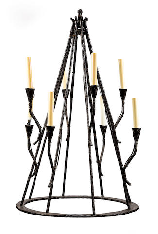 Eight light Chandelier Second half of 20th c. wrought iron, fitted for electricity h x diameter: 32 ½ x 20in. (82.5 x 51cm)