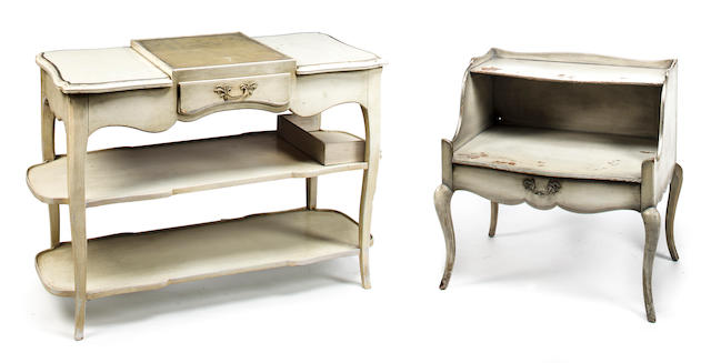 Attributed to Syrie Maugham Modern Rococo table second quarter of the 20th c.  cream painted and silvered wood with tooled leather h x l x d: 27 ¾ x 42 x 17in. (70.5 x 107 x 43cm)