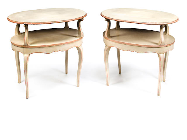 Pair of Louis XV style two-tiered side tables, mid 20th c., cream and salmon painted wood, h x l x d: 27 x 30 x 19in. (68.5 x 76 x 48.5cm)