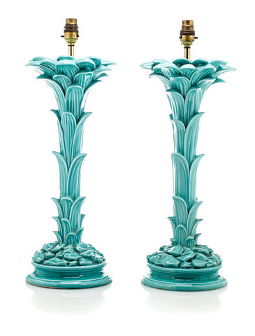 Pair of palm form table lamps 	French, mid 20th c. 	turquoise glazed ceramic 	h: 19 ½ in. (49.5cm)