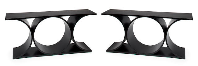 Karl Springer Double X,  black lacquer console tables, c. 1970