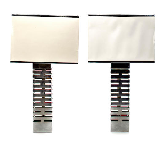 A pair of table lamps with shades, 1970's chromed metal, total height 29in (73 1/2cm)