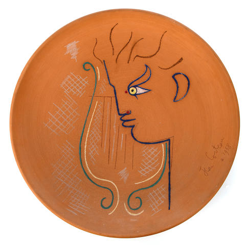 Jean Cocteau, plate 	painted terra cotta 	signed Jean Cocteau and dated 1958 	inscribed 'Edition originale de Jean Cocteau Atelier Madeline – Jolly 2/50' 	diam 14 ¼ (36.5cm)