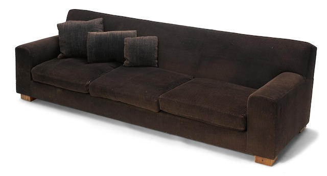 A Roy McMakin custom corduroy upholstered and wood sofa 1995