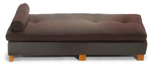 A Roy McMakin bouclé upholstered and wood daybed late 1980s