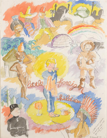 Robert H. Colescott (1925-2009) Little foreign children, 1977 29 3/4 x 22 1/4in (75.6 x 56.5cm)