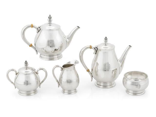 An American sterling silver Modernist five piece tea and coffee service International Silver Co., Meriden, CT, mid-20th century