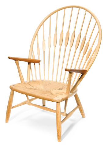 A Hans Wegner for Johannes Hansen ash and teak Peacock chair JH 550, designed 1947