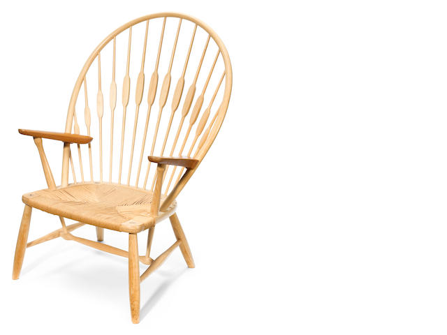 A Hans Wegner for Johannes Hansen ash and teak Peacock chair