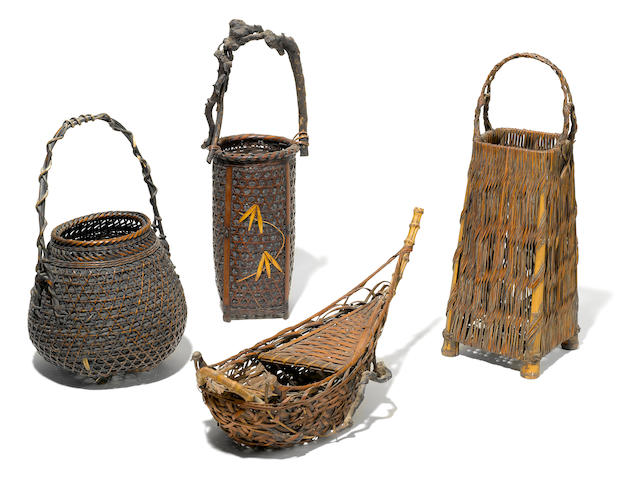 ***ON INSPECTION - ASIAN DEPARTMENT***A set of four Japanese Ikebana baskets