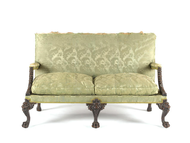 A George II style mahogany sofa<BR />19th century