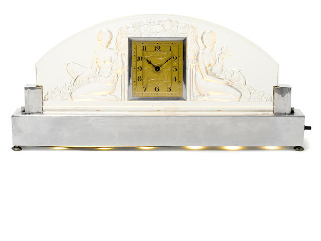 A Sabino molded glass and chromed metal illuminated clock retailed by Robert Anstead, Los Angeles, circa 1930