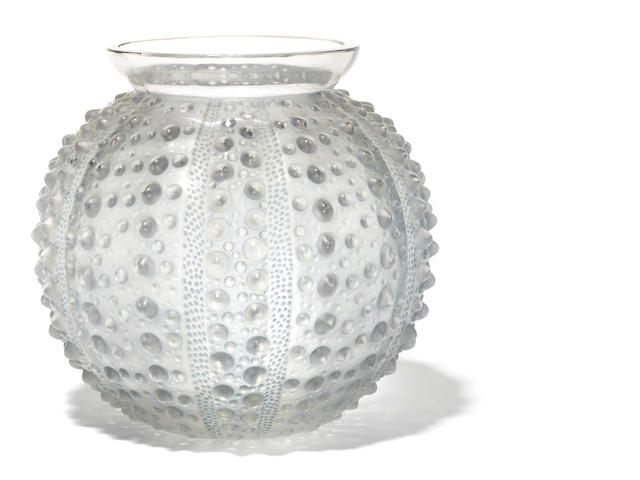 An R. Lalique glass vase: Oursin (small chips around mouth)