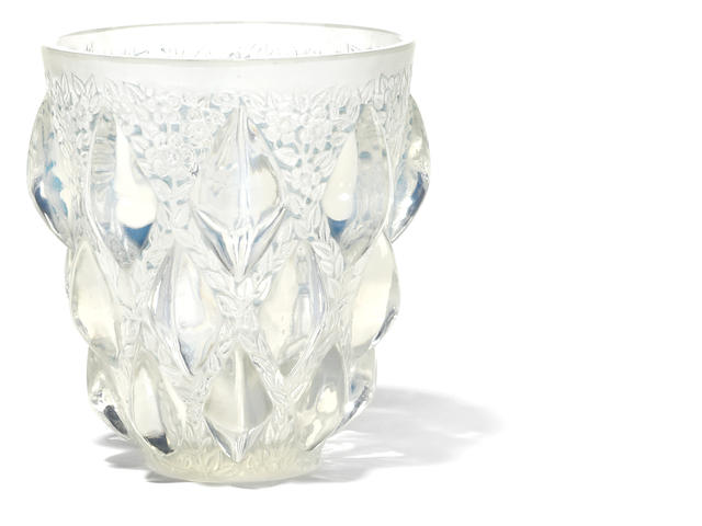 An R. Lalique opalescent glass vase: Rampillon
