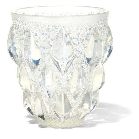 An R. Lalique opalescent glass vase: Rampillon