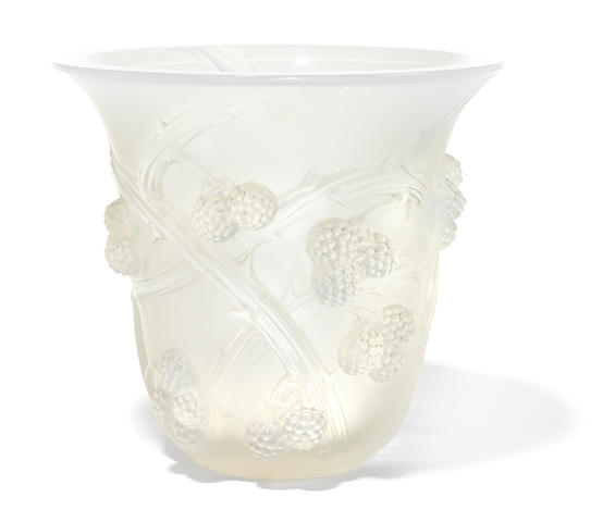 A René Lalique opalescent glass vase: Mûres (Marcilhac 1058); model introduced 1930