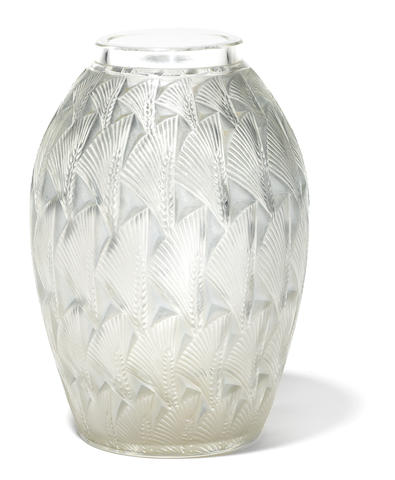A René Lalique molded glass vase: Grignon (Marcilhac 1086), model introduced 1932