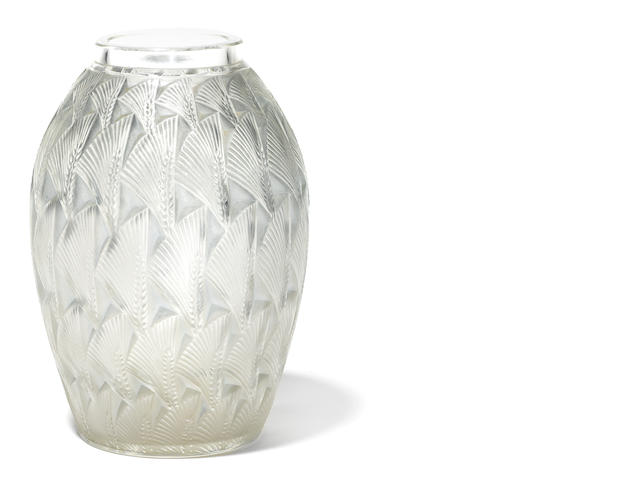 An R. Lalique glass vase: Grignon
