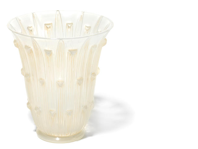 An R. Lalique opalescent glass vase: Bellis (reduced)