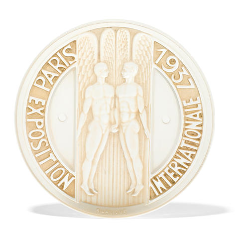 A René Lalique molded glass Plaquette: Exposition Internationale de Paris 1937 (Marcilhac X, page 477), model introduced 1937