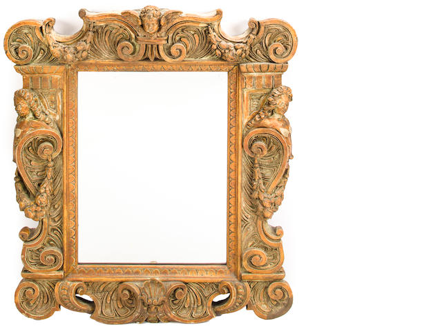 A Continental Baroque style paint decorated mirror<BR />possibly Italian<BR />late 19th century