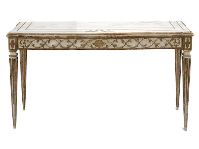 An Italian Neoclassical style paint decorated console table