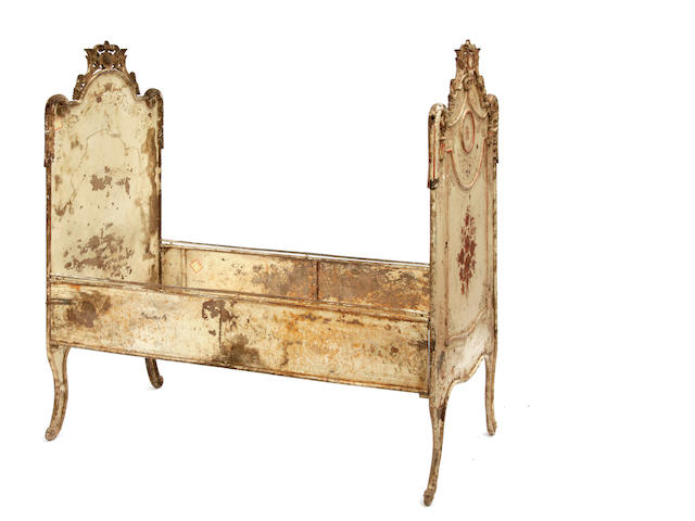 A Napoleon III paint decorated bed