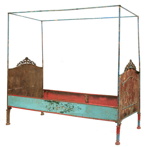 A French paint decorated canopy bed