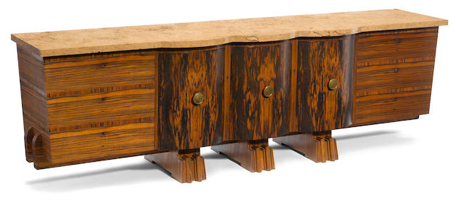 A large Art Deco exotic wood and marble sideboard second quarter 20th century
