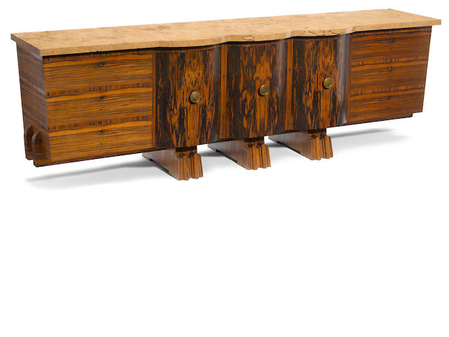 A large Art Deco exotic wood and marble sideboard circa 1925
