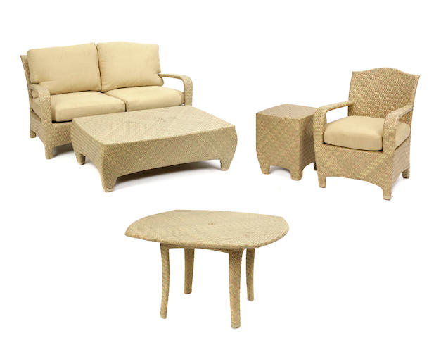 An extensive set of faux wicker patio furniture